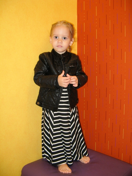 Image - Aveline Alenka in JCP JCPenney Back to School Collection - FirstDayLook Toddler Style Striped Maxi Dress Oaxacaborn blog 2