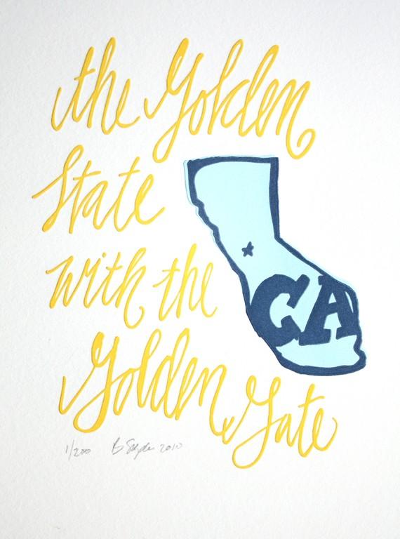 Golden State California letterpress print via the Etsy shop 1canoe2