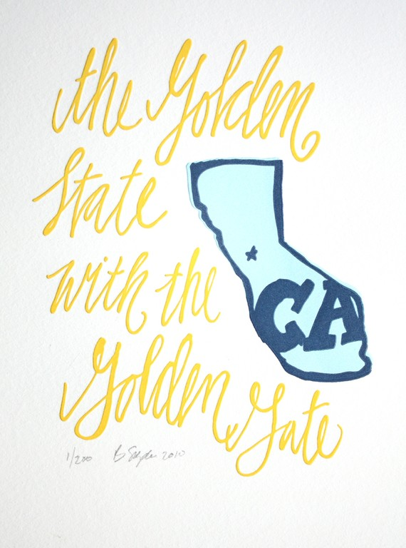 Golden State California letterpress print via the Etsy shop 1canoe2