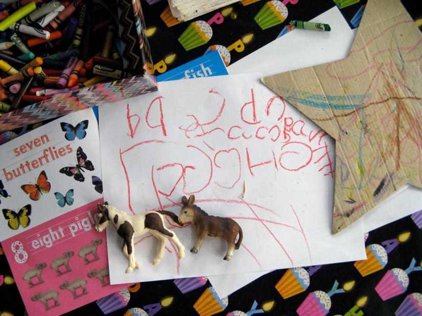 Menagerie on Toddler's Desk
