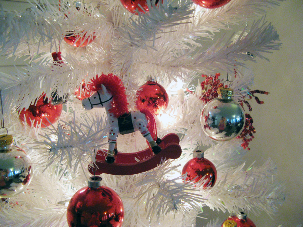 Oaxacaborn blog - 2 - Red and Silver Ornaments on a White Tree