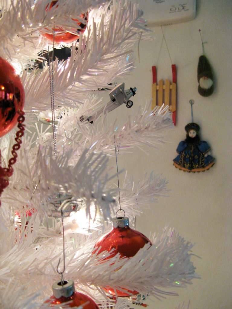 Oaxacaborn blog - 3 - Red and Silver Ornaments on a White Tree