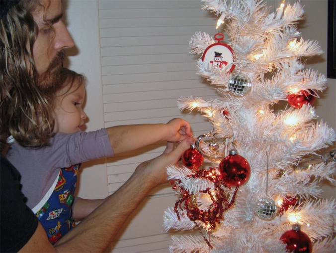 Oaxacaborn blog - Red and Silver Ornaments on a White Tree