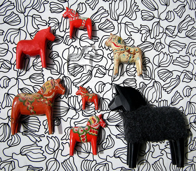 Unusual Dala horse collection via a maison d'anna g