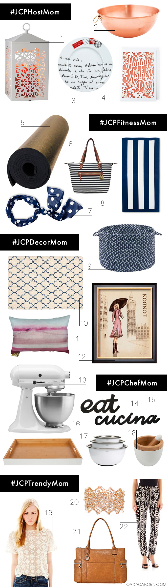 A @JCPenney #Momisms Mother's Day Gift Guide curated by the Oaxacaborn blog // #JCPHostMom #JCPFitnessMom #JCPDecorMom #JCPChefMom #JCPTrendyMom
