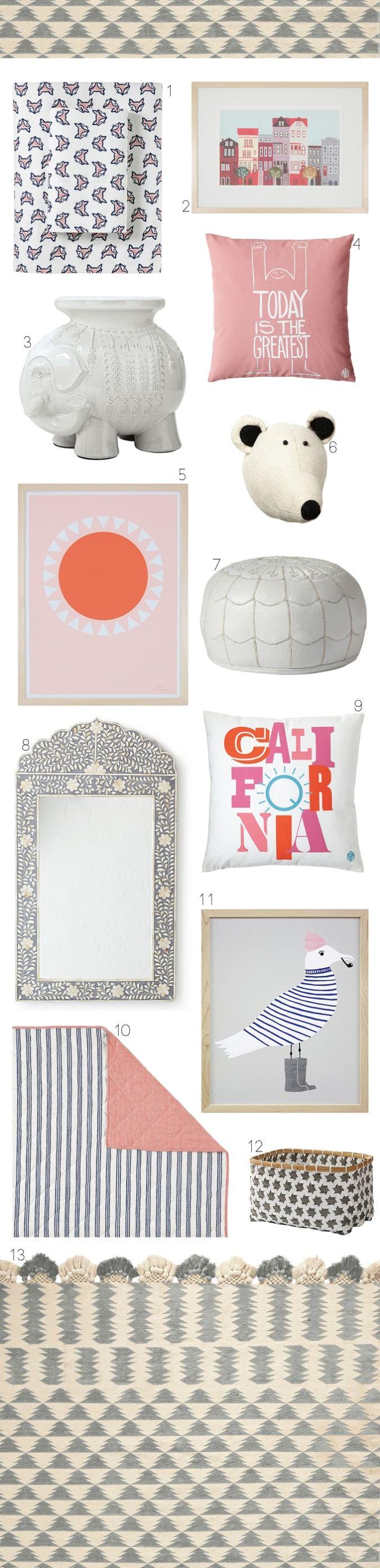 Serena and Lily Coral Grey and Navy Girls Room