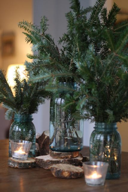 Christmas Tree Branches as Chrismtas Trees via A Barefoot Day on Oaxacaborn's MONDAY'S PRETTY THINGS :: Decorating with Christmas Tree Branches