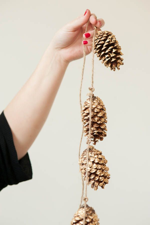 Spray Painted Golden Pine Cones