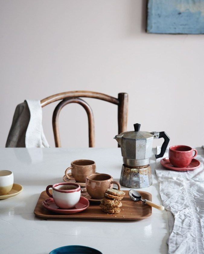 Toast UK Early SS15 House and Home Lookbook -- Wooden tray, metal coffee percolator