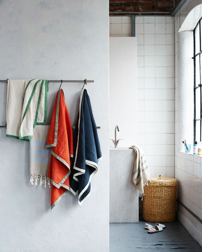 Toast UK SS15 House and Home Lookbook  -- Colorful and unusual bathroom towels