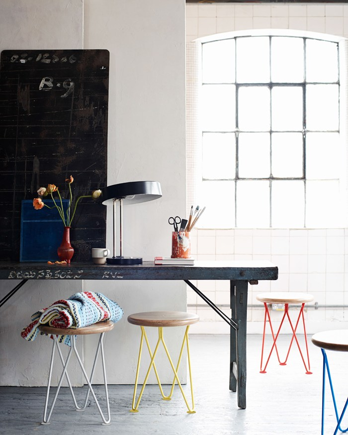 Toast UK SS15 House and Home Lookbook -- Stools with colorful hairpin legs