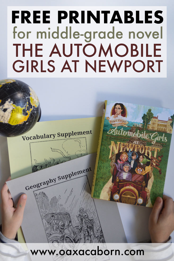 FREE HOMESCHOOL PRINTABLES for middle-grade novel The Automobile Girls at Newport by Aunt Claire Presents, by Laboratory Books