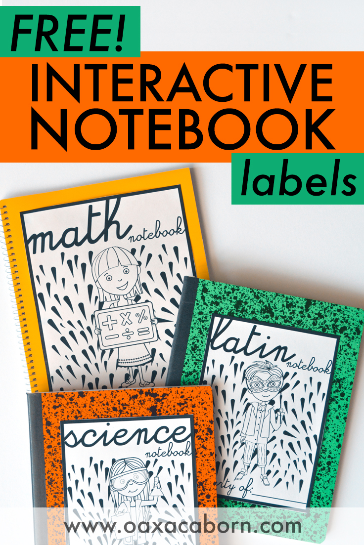 pin image with text: FREE Interactive Notebook Labels / Printables